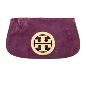 Tory Burch purple patent leather Reva Cluch